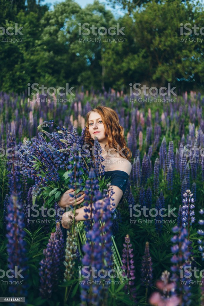 Red-haired girl in blue dress with lupines royalty-free stock photo