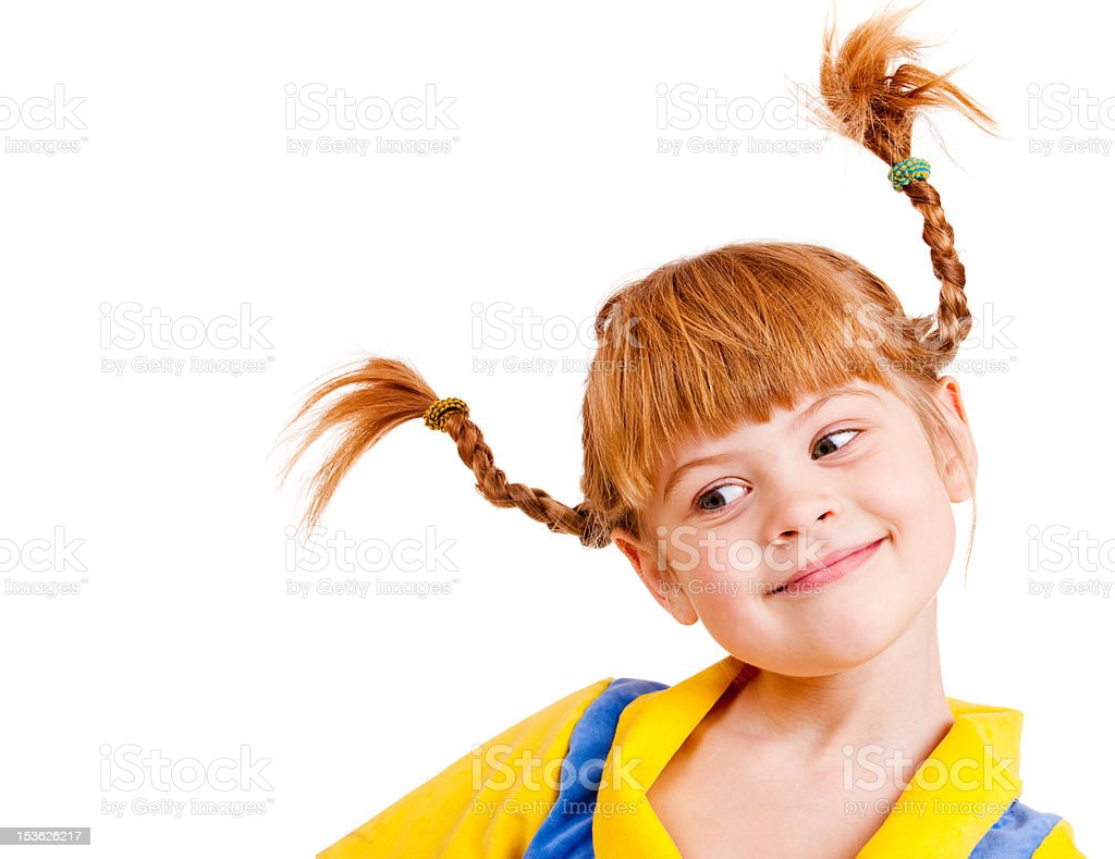 Red-haired little girl stock photo