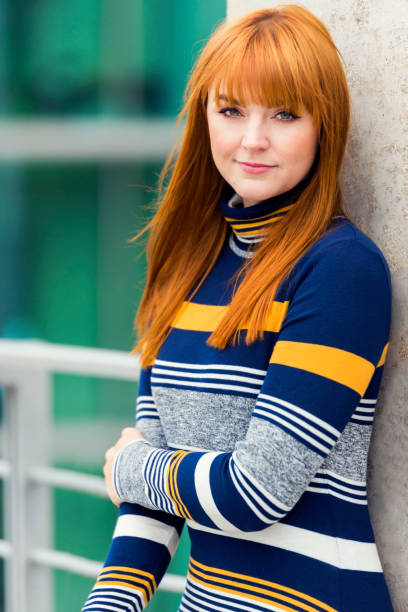 red-haired woman, portraits in berlin, germany - woman green eyes red hair stock photos and pictures