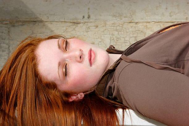 redhead beauty portraits - teen stock photo