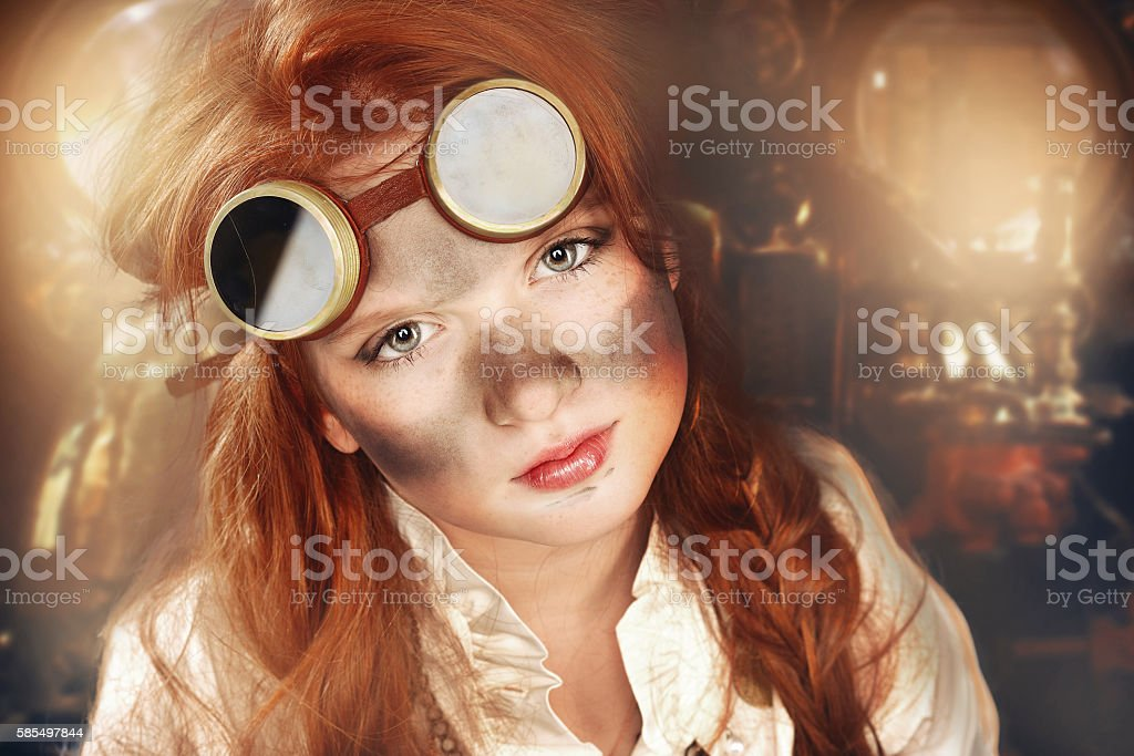 redhead dirty girl steampunk stock photo