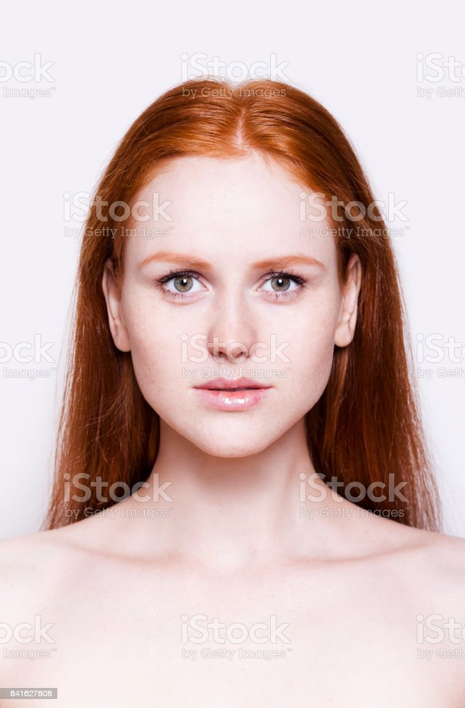 Redhead girl close-up portrait Natural no make-up look stock photo