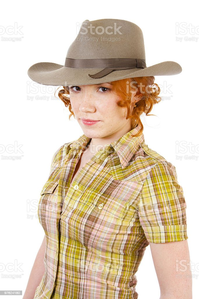 Redhead girl in cowboy hat royalty-free stock photo