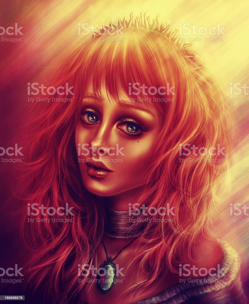 Redhead Girl with a spines crown royalty-free stock photo