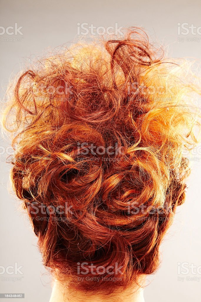 Redhead hairstyle with Updo - Back of the Head Only royalty-free stock photo