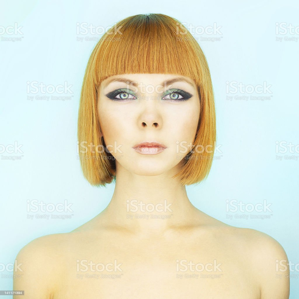 Redhead lady with bob stock photo