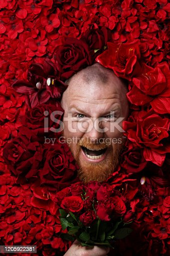 A redhead bearded man's face laying in a colourful bed of red roses and other flowers