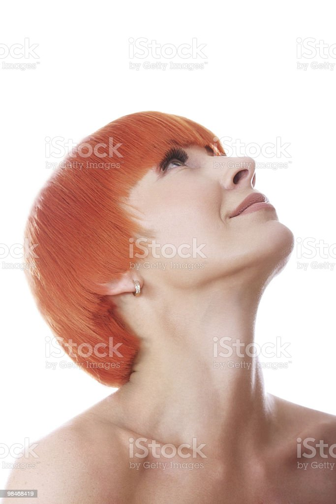 Redhead raising eyes royalty-free stock photo