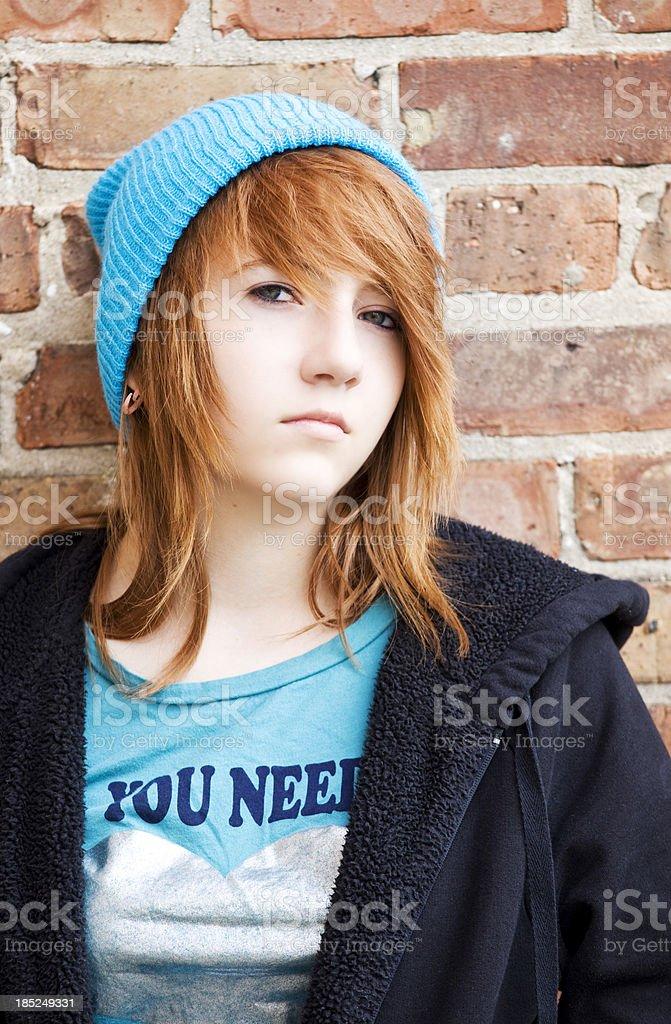 redhead teenage girl stock photo