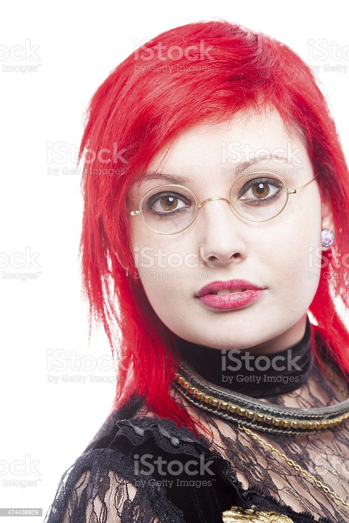 Redhead Wearing Granny Glasses royalty-free stock photo