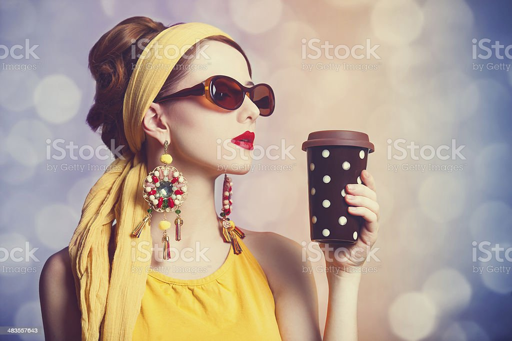 Redhead women with coffee. stock photo