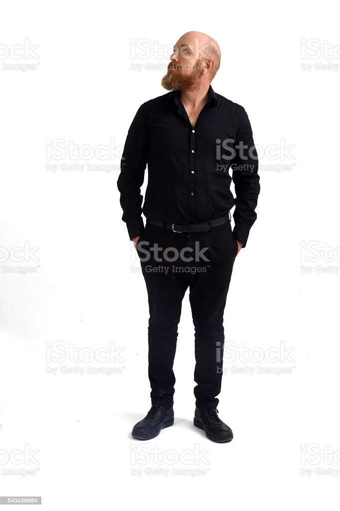 Redheaded man isolated with white background, stock photo