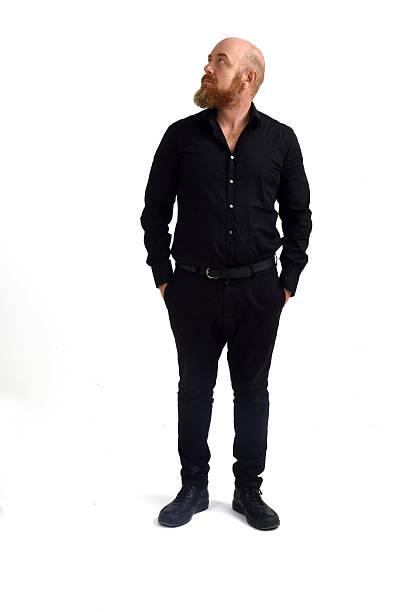 redheaded man isolated with white background, - glatze schneiden stock-fotos und bilder