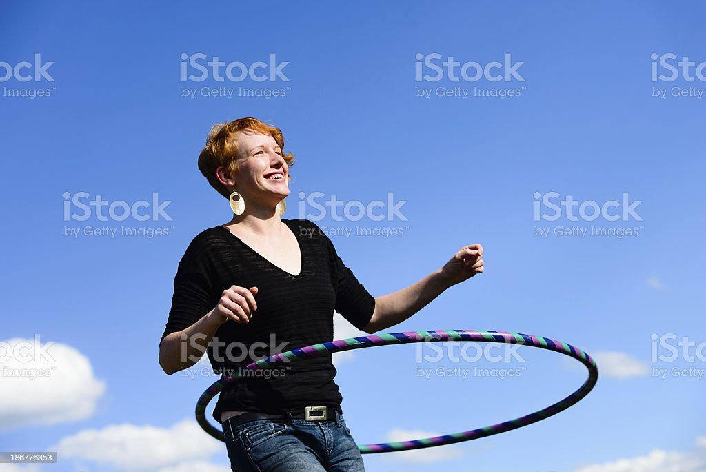 Red-Headed Woman with Hoop royalty-free stock photo