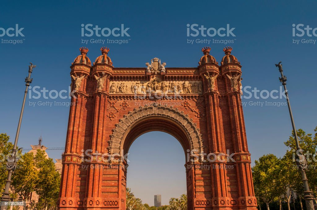 Redish Arch of Triumph in Barcelona, Spain stock photo
