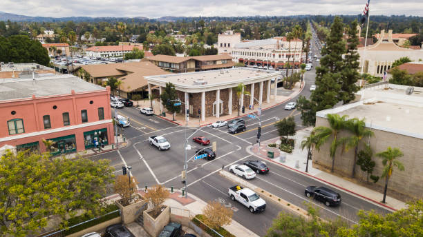 Redlands, California Daytime aerial view of the historic city center of Redlands, California. redlands california stock pictures, royalty-free photos & images