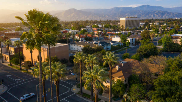 Redlands, California Sunset aerial view of the historic city center of Redlands, California. redlands california stock pictures, royalty-free photos & images