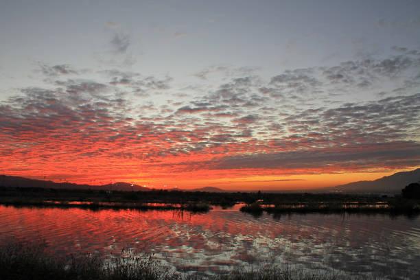 Redlands Reflection Red Sunset stock photo