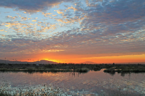 Redlands Reflection Sunsert stock photo