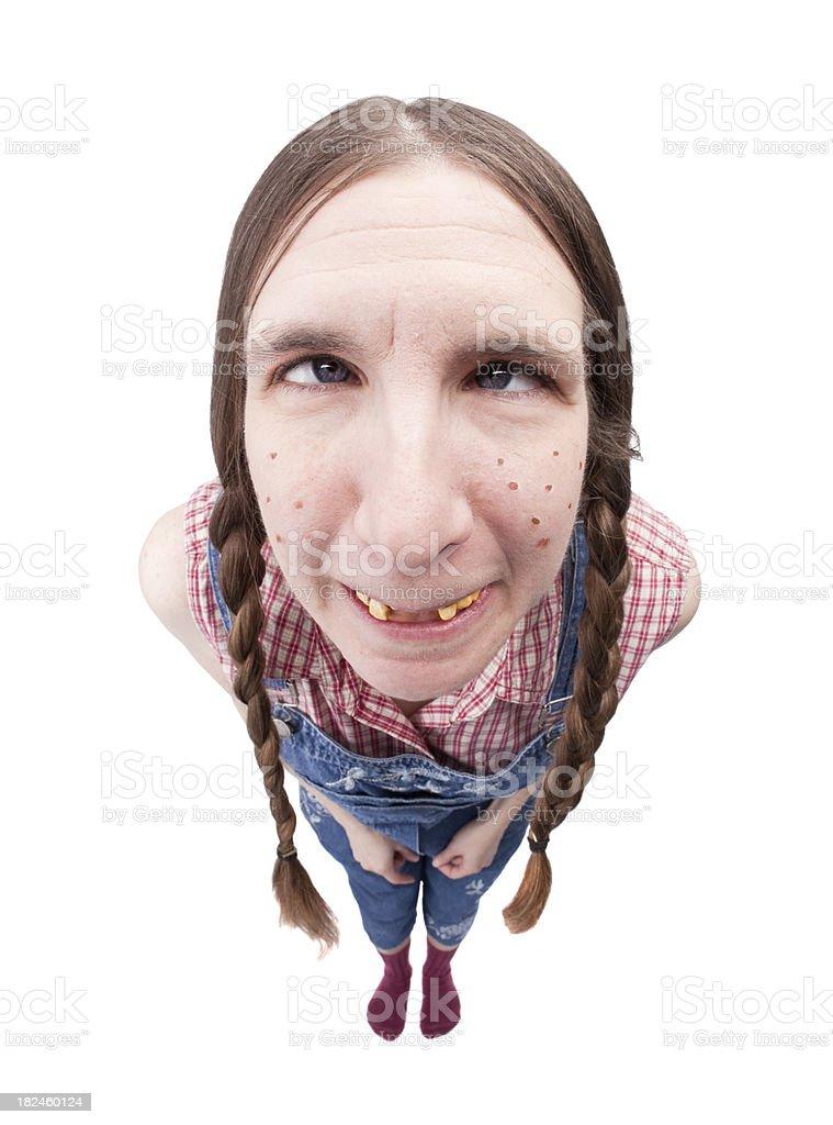 Redneck Woman Crossing Eyes stock photo