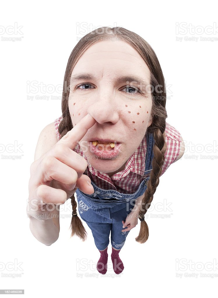 Redneck Woman Picking Her Nose royalty-free stock photo