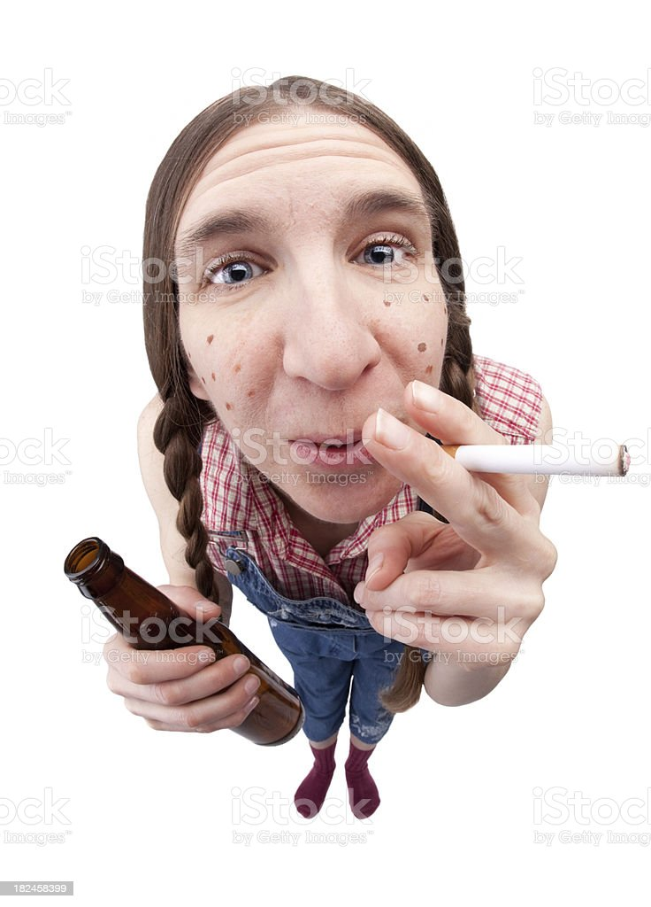 Redneck Woman With Cigarette and Beer royalty-free stock photo