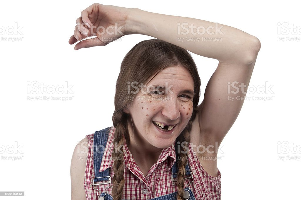Redneck Woman With Hairy Armpit stock photo