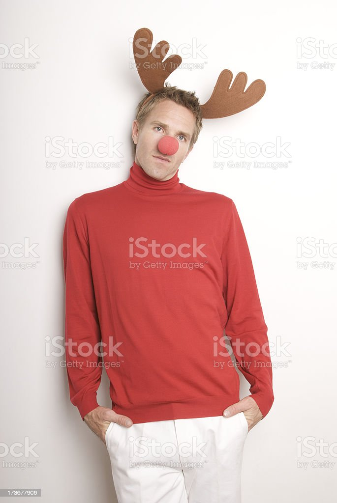 Red-Nosed Reindeer Guy on Wall royalty-free stock photo