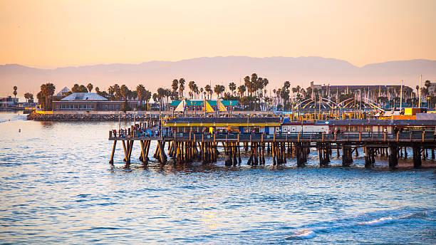 Redondo Beach at sunset time. stock photo