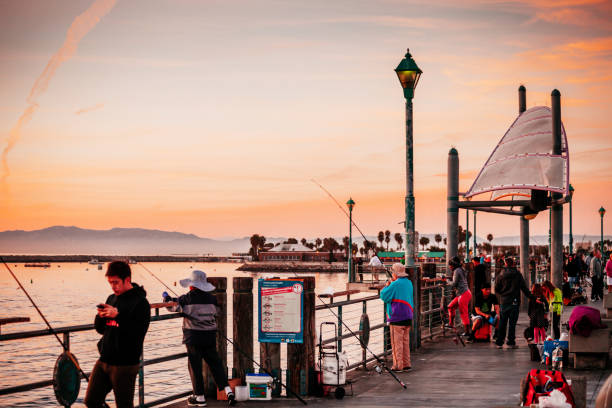 Redondo Beach pier at sunset. stock photo