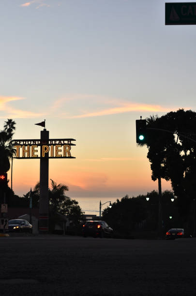 redondo beach pier at sunset - steven harrie stock pictures, royalty-free photos & images
