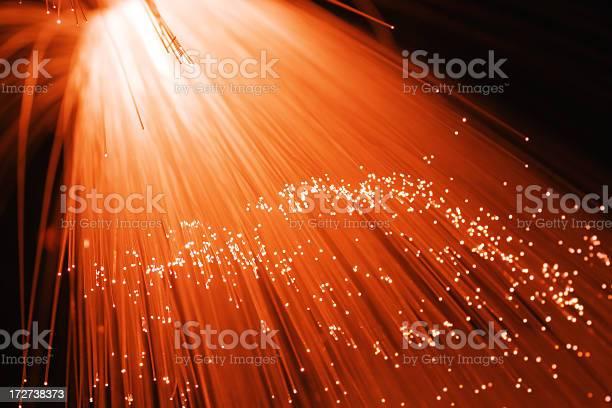 Redorange Fiber Optics Stock Photo - Download Image Now