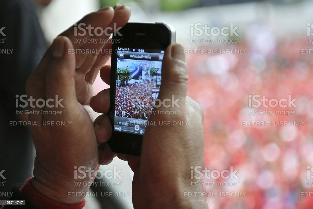 Red-Shirt Rally in Bangkok stock photo