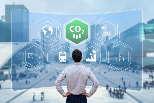 Reduce Carbon Dioxide Emissions to Limit Global Warming and Climate Change. Commitment to Paris Agreement to Lower CO2 levels with Sustainable Development as Renewable Energy and Electric Vehicles stock photo