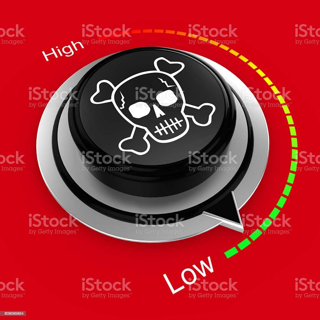 Reduce danger and risk rotary knob stock photo