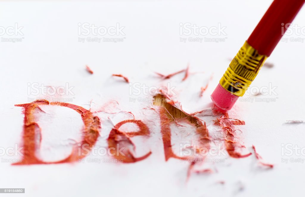 Reduce debt concept stock photo