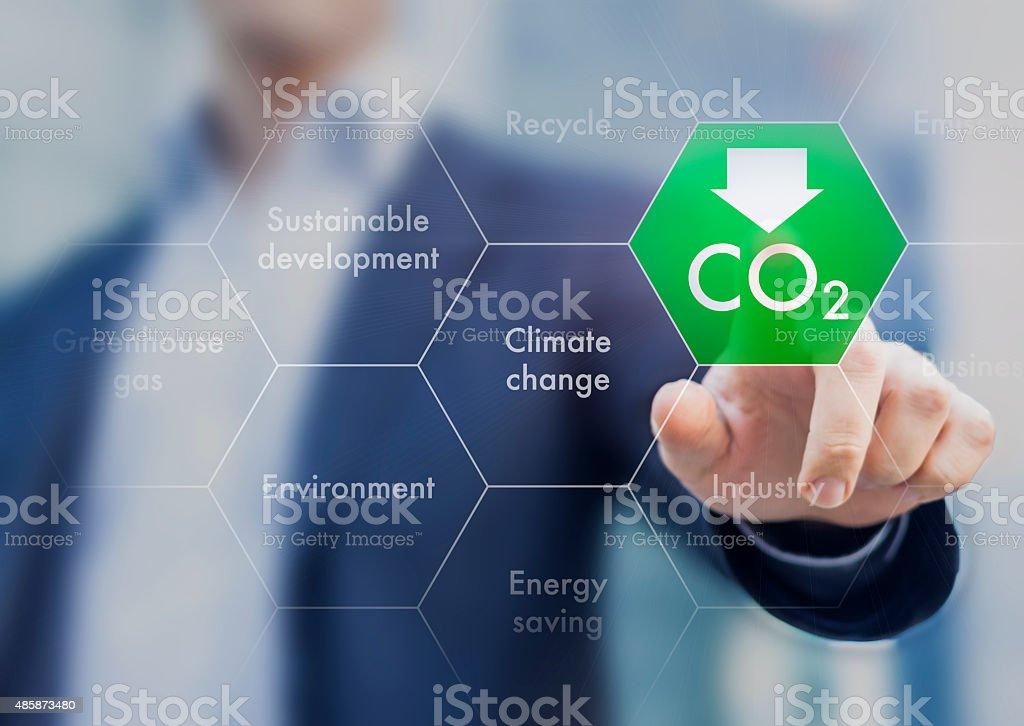 Reducir las emisiones de gases de efecto invernadero por el cambio climático y sustainabl - foto de stock