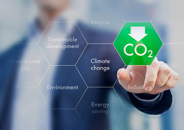 reduce greenhouse gas emission for climate change and sustainabl - co2 bildbanksfoton och bilder
