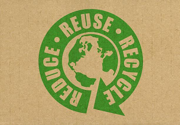 reduce reuse recycle logo with earth at center - recycling symbol stock photos and pictures