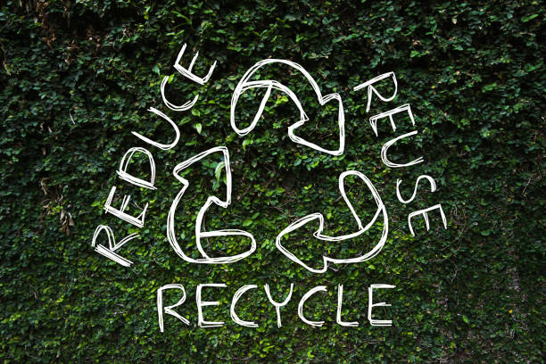 reduce - reuse - recycle symbol hand drawing with green nature background. - circular economy imagens e fotografias de stock