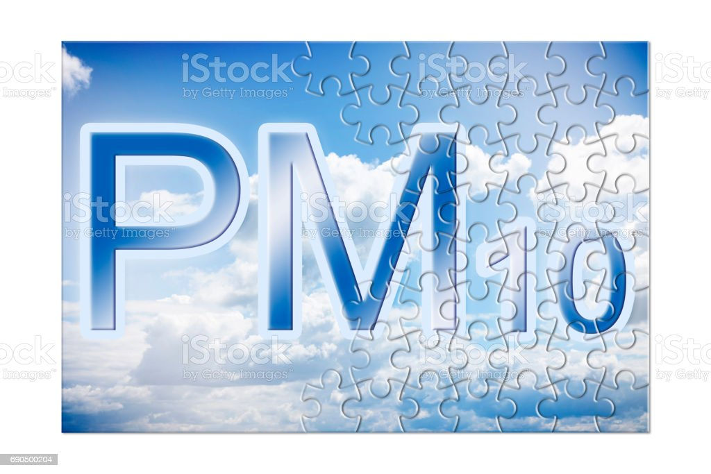 Reduction of particulate matter (PM10) in the air -  concept image in puzzle shape stock photo
