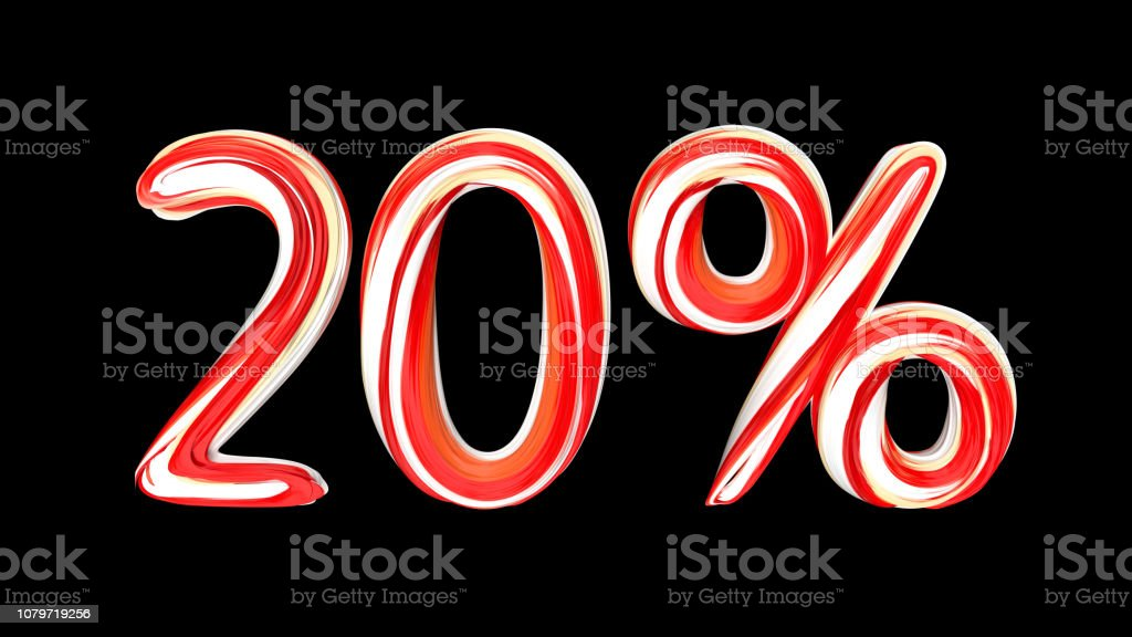 Red-white text 20 % on black background. Brushstroke 20 percent text. stock photo