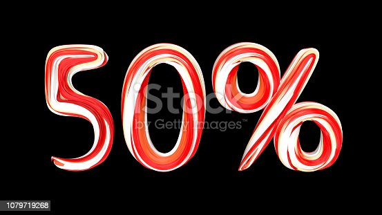 istock Red-white text 50 % on black background. Brushstroke 50 percent text. 1079719268