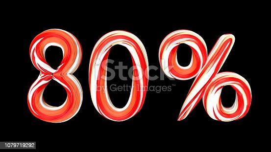 istock Red-white text 80 % on black background. Brushstroke 80 percent text. 1079719292