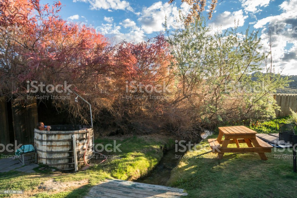 Redwood hot tub afternoon stock photo