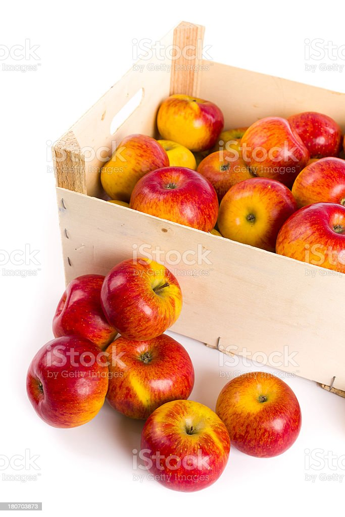 red-yellow apples in a big box royalty-free stock photo