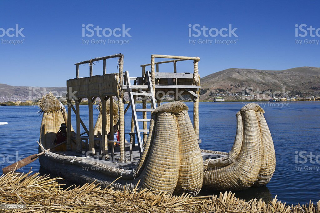 Reed Boat on Lake Titicaca royalty-free stock photo