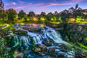 Reedy River Falls Waterfall in Downtown Greenville SC Falls Park at Sunrise.