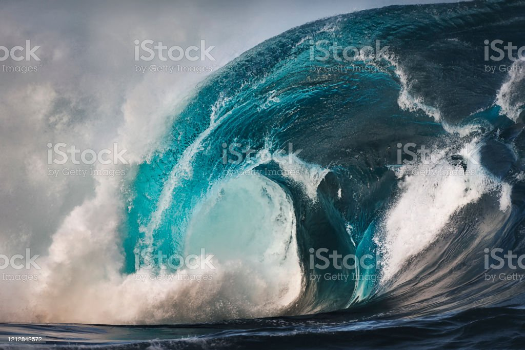 Reef Break Huge waves at sunset, Sydney Australia Art Stock Photo