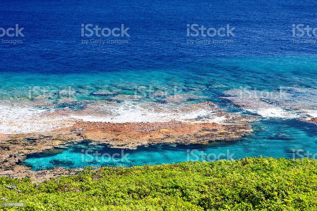 Reef flats and snorkeling pool stock photo